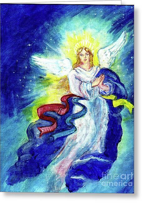 Angel Of Joy Greeting Card by Doris Blessington