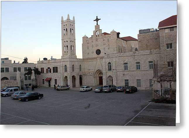 Annunciation Latin Church In Beit Jala Greeting Card by Munir Alawi