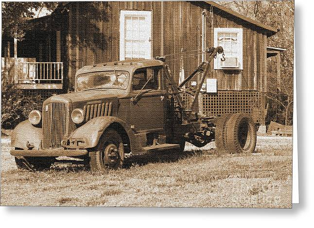 Antique Tow Truck Greeting Card by Barbara Bowen