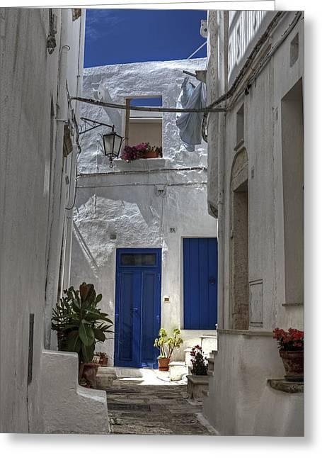 Apulia - Blue-white Greeting Card by Joana Kruse