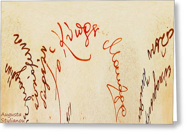 Archbishop Makarios  Autograph Greeting Card by Augusta Stylianou