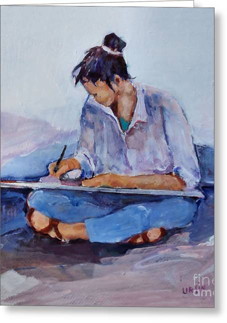 Artist In Pink And Blue Greeting Card