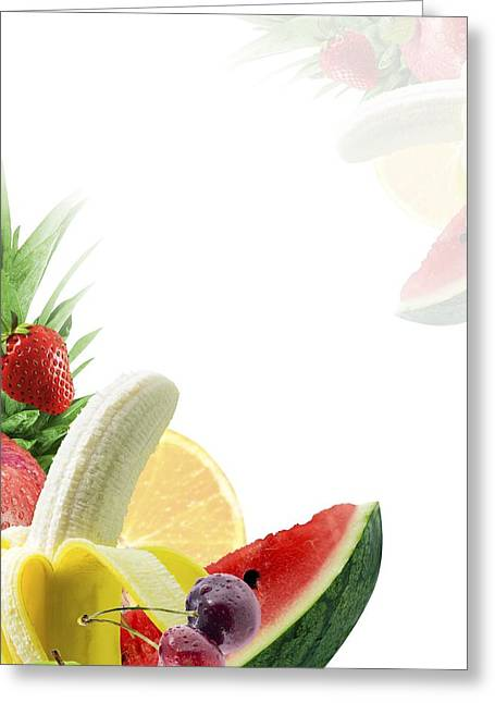 Assorted Fresh Fruit Greeting Card by Victor Habbick Visions