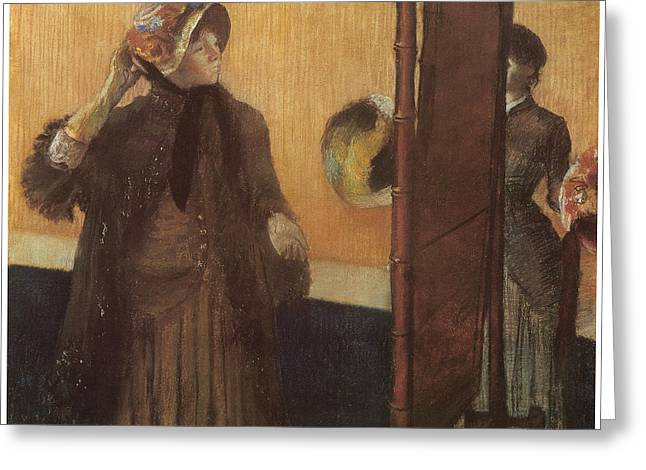 At The Milliner's Greeting Card by Edgar Degas