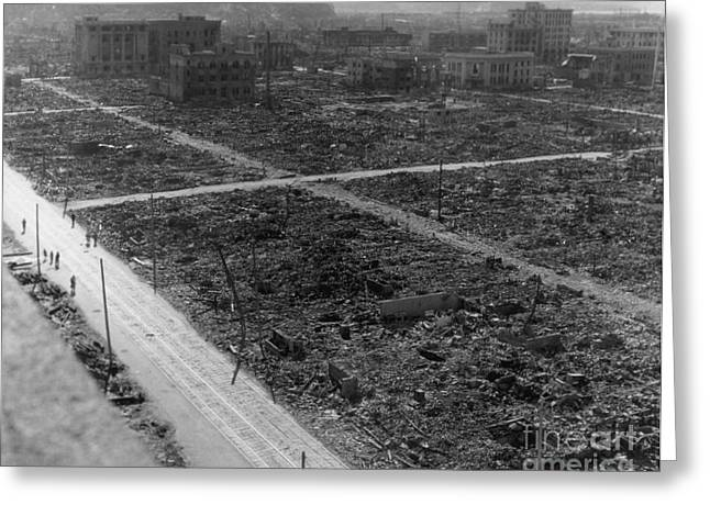 Atomic Bomb Destruction, Hiroshima Greeting Card by Photo Researchers