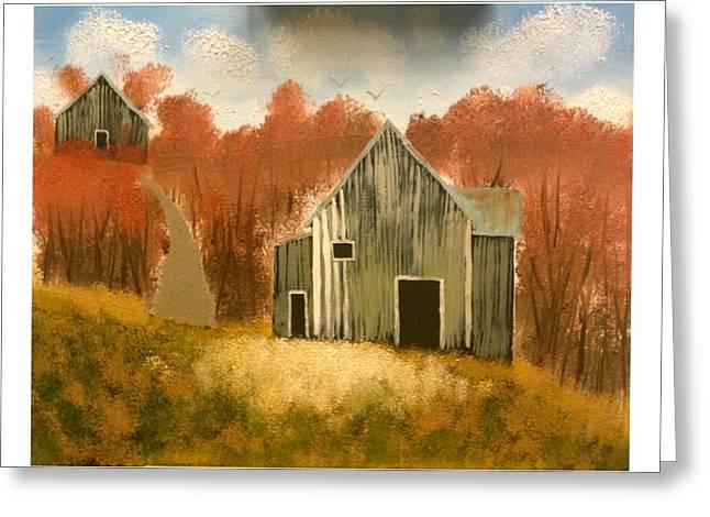 Autumn Rustic Barns Greeting Card by Imran Virk