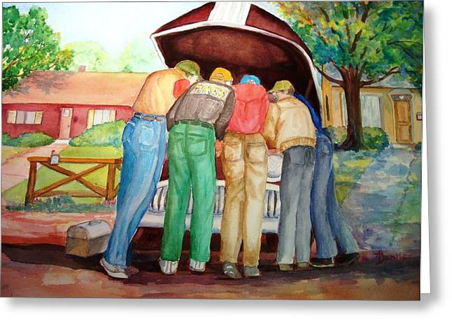 Greeting Card featuring the painting Backyard Mechanics by AnnE Dentler