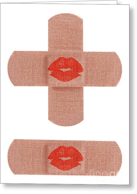 Bandages With Kiss Greeting Card