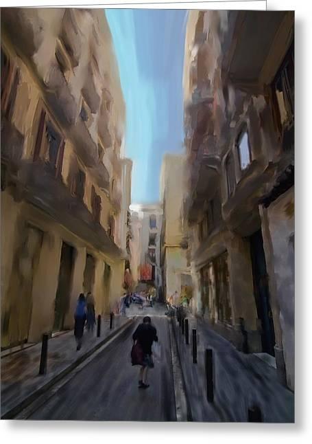 Barcelona Street Scene Greeting Card by Sven Brogren