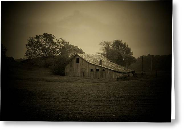 Barn In Field Greeting Card by Michael L Kimble