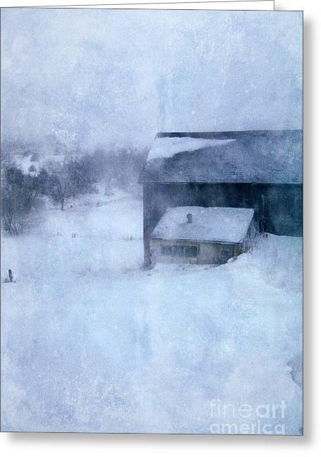 Barn In Winter Greeting Card by Jill Battaglia