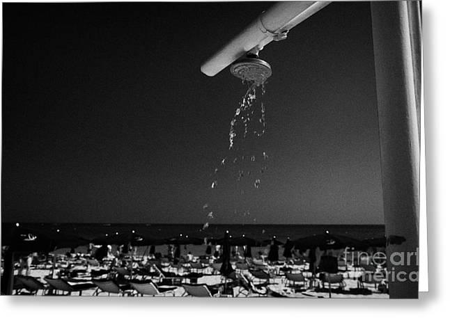Beach Shower On Harbour Beach Ayia Napa Republic Of Cyprus Europe Greeting Card