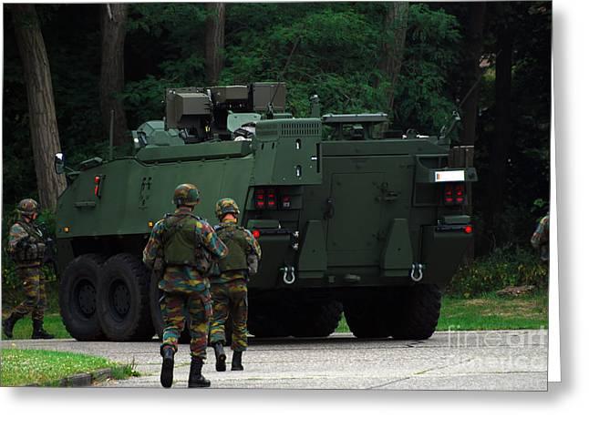 Belgian Infantry Soldiers Walk Greeting Card