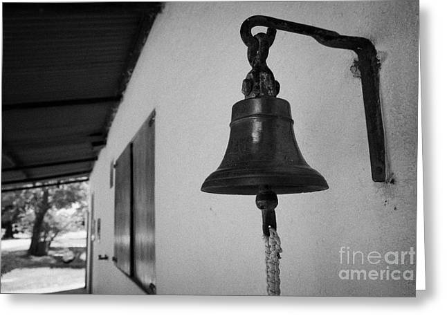 bell outside a small historic typical farm in Colonia Del Sacramento Uruguay South America Greeting Card by Joe Fox