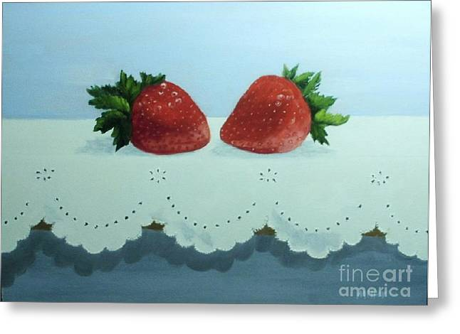 Berries And Lace Greeting Card by Peggy Miller