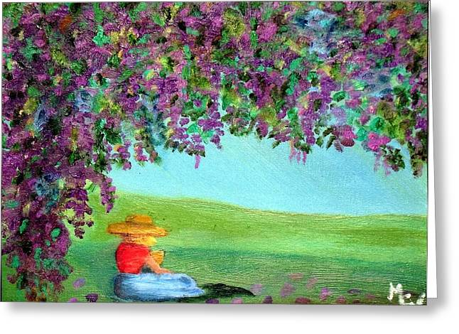 Greeting Card featuring the painting Beyond The Arbor by Margaret Harmon