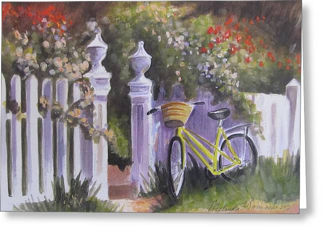 Bicycle On Fence Greeting Card