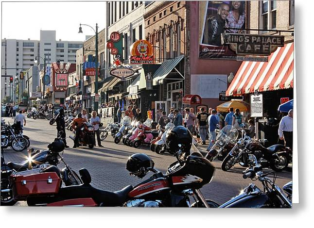 Bikes On Beale Greeting Card by Dawn Davis