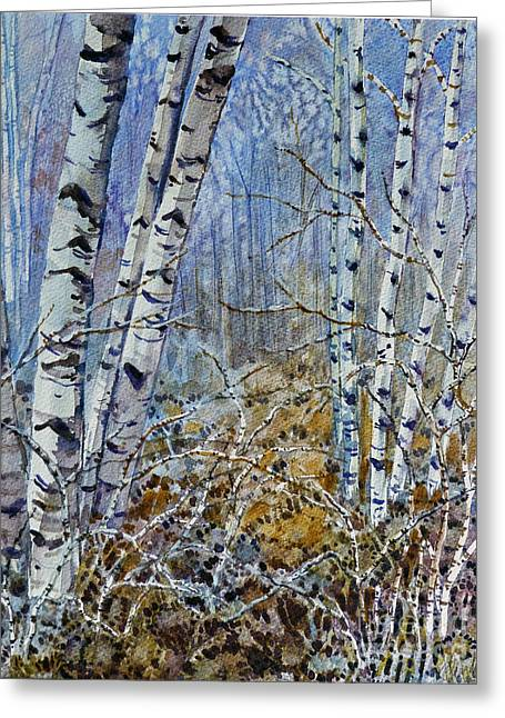 Birches Greeting Card by Louise Peardon