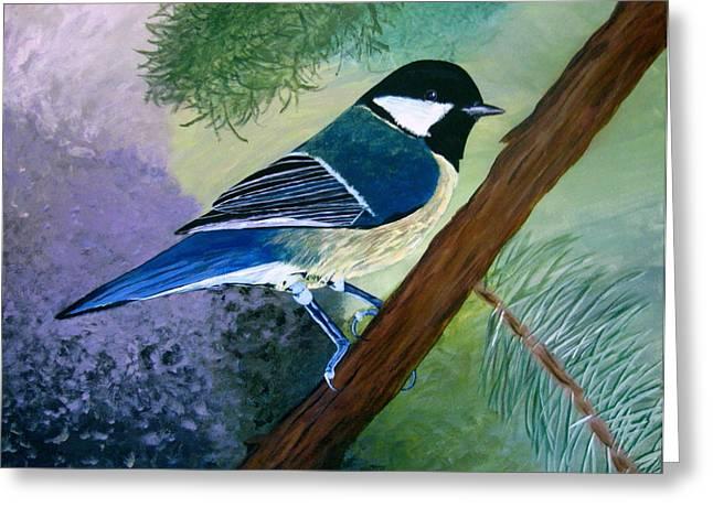 Blue Chickadee Greeting Card by Angela Gale