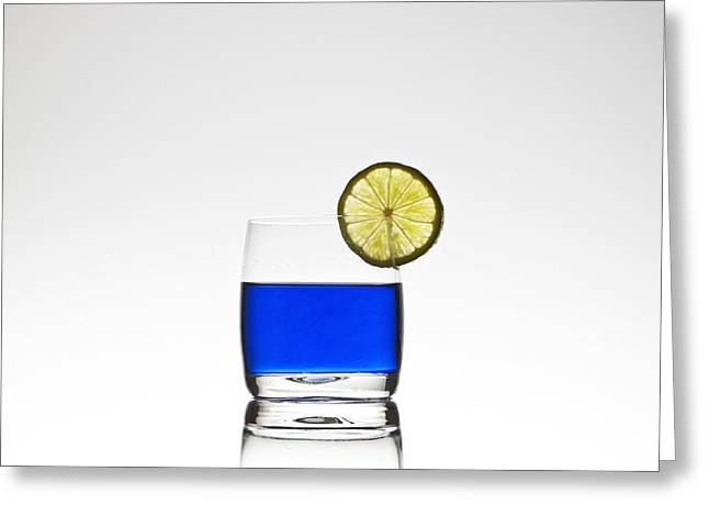 Blue Cocktail With Lemon Greeting Card by Joana Kruse