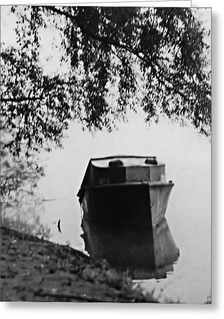 Boat On Foggy Rhine Greeting Card
