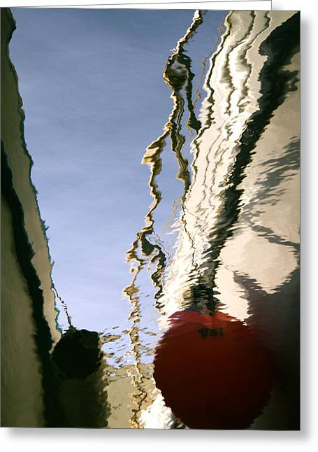 Boat Reflections At Sea Greeting Card by Stelios Kleanthous