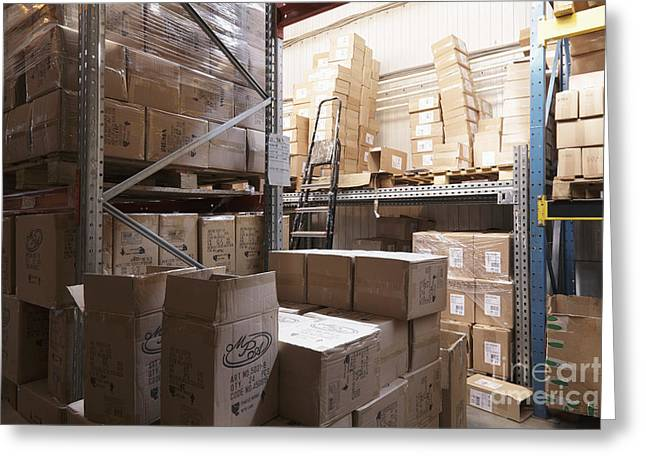 Boxes Stored In A Warehouse Greeting Card by Magomed Magomedagaev