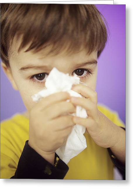 Boy Wiping Nose Greeting Card