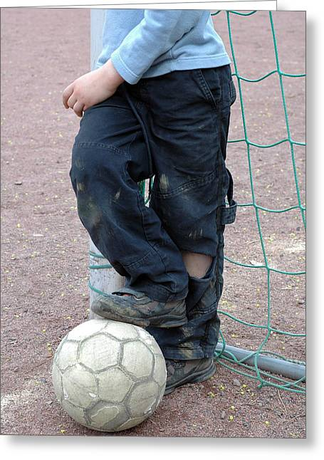 Boy With Soccer Ball Greeting Card