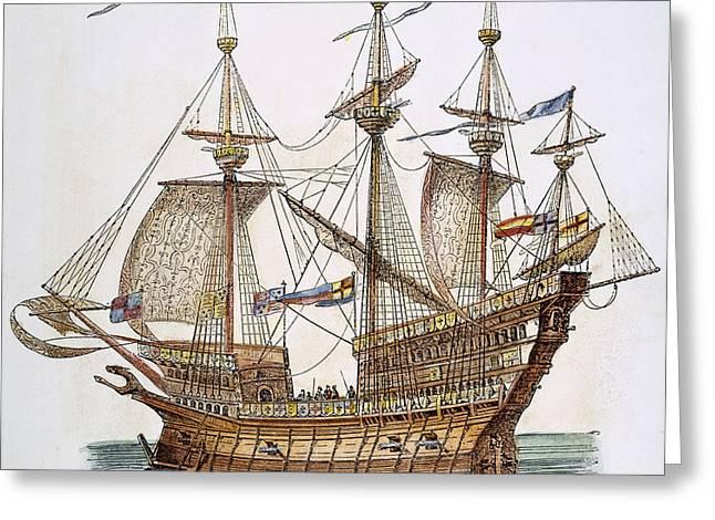 British Warship, 1488 Greeting Card