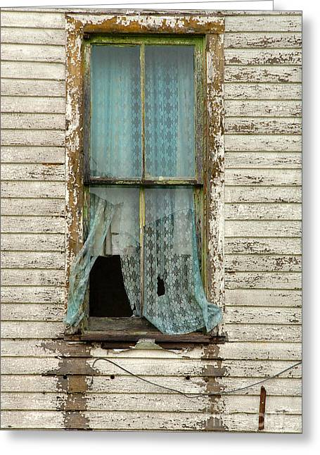 Broken Window In Abandoned House Greeting Card