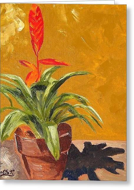 Bromeliad Vriesea Greeting Card by Maria Soto Robbins