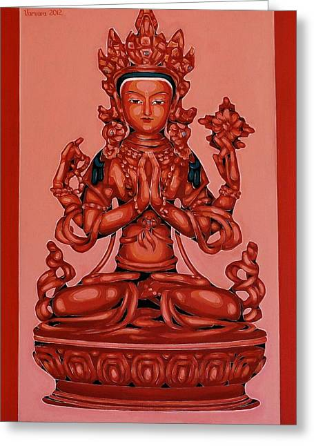 Buddha Of Compassion Greeting Card by Varvara Stylidou