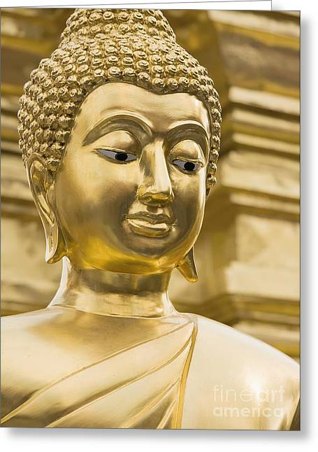 Buddha's Statue Greeting Card by Roberto Morgenthaler