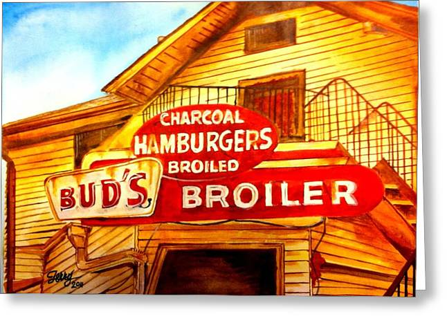 Bud's Broiler Greeting Card by Terry J Marks Sr