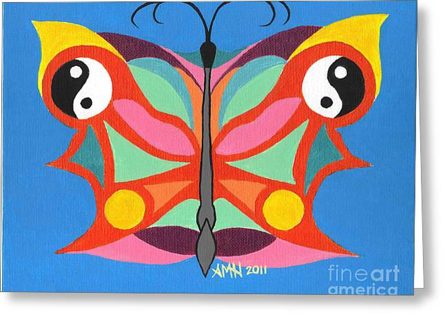 Butterfly Twin2 Greeting Card by Angela Q