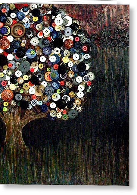 Greeting Card featuring the painting Button Tree 0002 by Monica Furlow