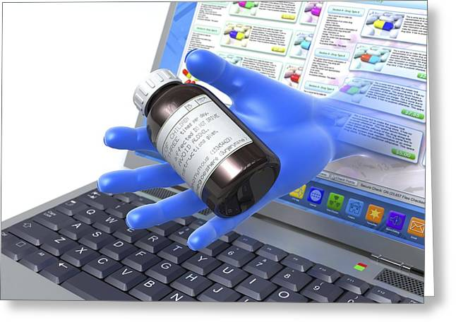 Buying Medicines Online, Conceptual Image Greeting Card