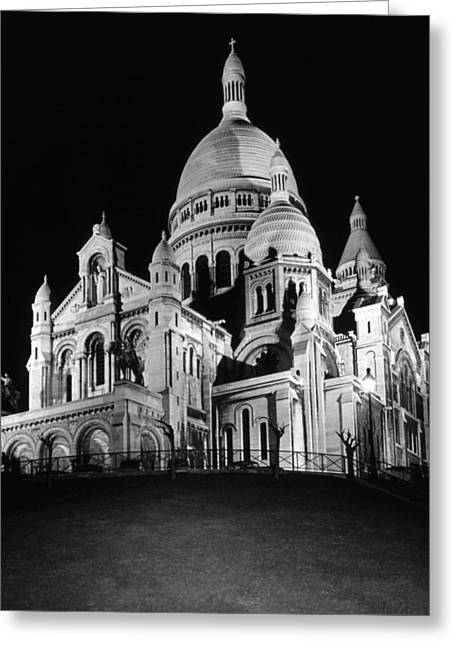 Bw France Paris The Sacre Coeur Basilica 1970s Greeting Card by Issame Saidi