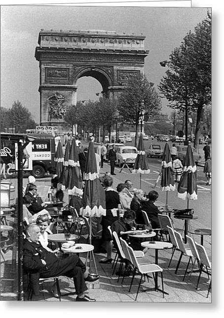 Bw France Paris Triumphal Arch 1970s Greeting Card by Issame Saidi