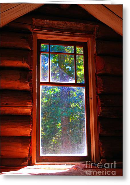 Cabin Window Greeting Card by Bill Thomson