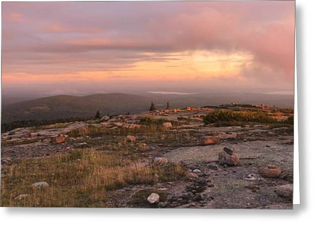 Cadillac Mountain Sunrise Panorama Greeting Card by Stephen  Vecchiotti