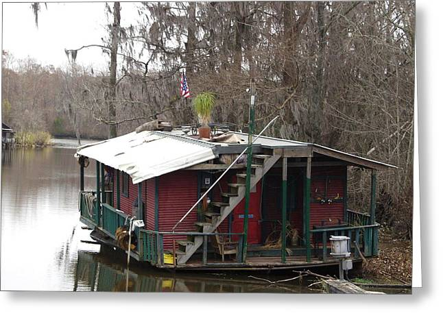 Cajun Houseboat Greeting Card