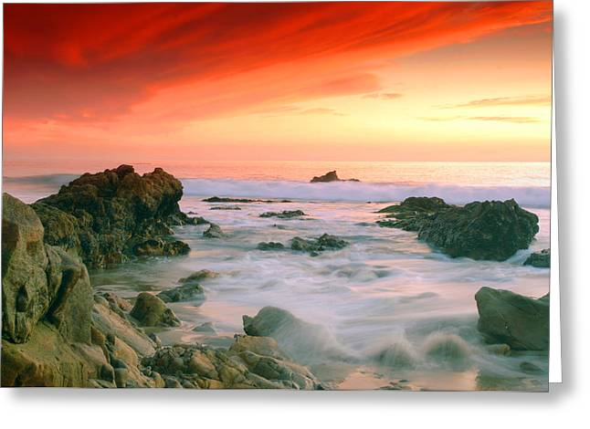 California Beach Sunset Greeting Card by Dung Ma