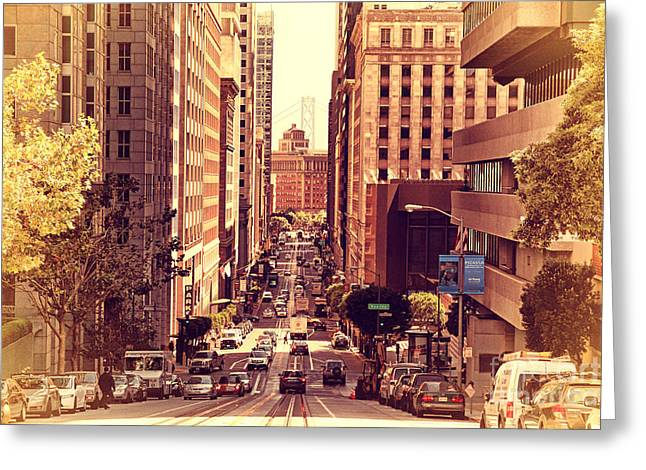 California Street In San Francisco Greeting Card by Wingsdomain Art and Photography