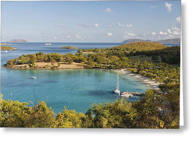 Caneel Bay Panorama Greeting Card by George Oze