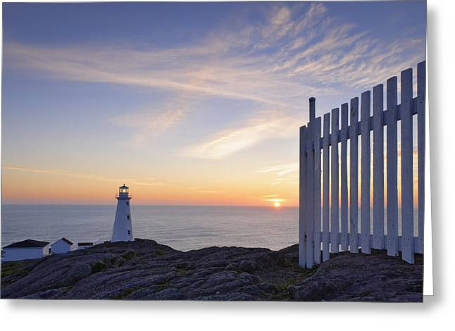 Cape Spear Lighthouse At Sunrise, Cape Greeting Card