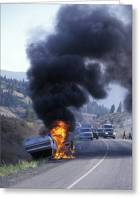 Car In Flames Greeting Card by Kaj R. Svensson
