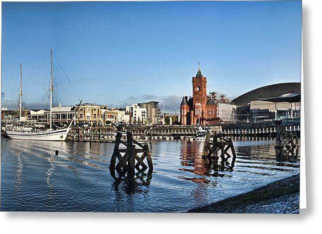 Cardiff Bay Panorama Greeting Card by Steve Purnell